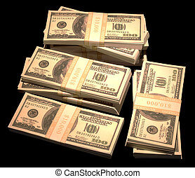 Pile of Cash - A Pile of cash made of One Hundred Dollar...