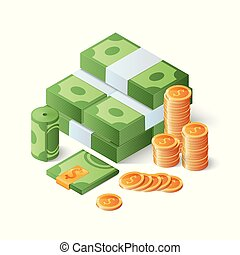 Pile of cash and gold coins. Heap of. Big money concept. Isometric vector illustration