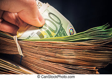 Cash Money Euro Currency Counting