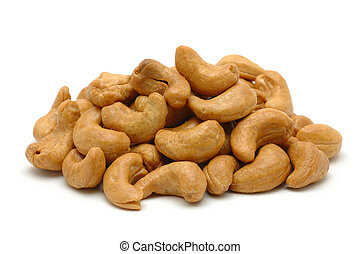 Pile of roasted cashew nuts in isolated white background