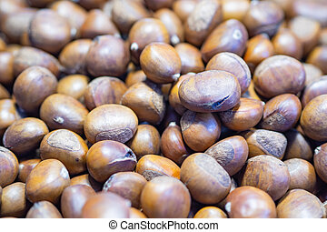 Pile of chestnuts for sale in the market