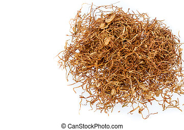 Chewing tobacco on white background