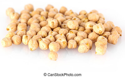 Pile of chickpeas against white background.