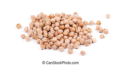 Pile of chickpeas seen from above isolated on a white background
