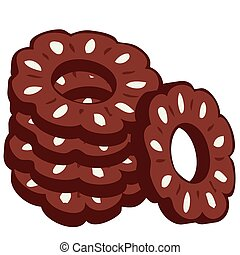 Pile of chocolate cookies. - Illustration of a pile of...
