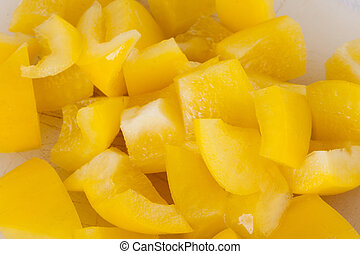 Pile of Chopped Yellow Pepper