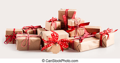 Pile of Christmas gifts with colorful bows