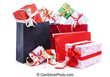 Pile of Christmas present with shopping bag