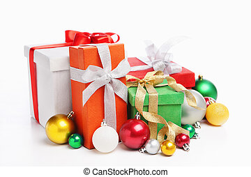 Pile of Christmas presents, shot over white background