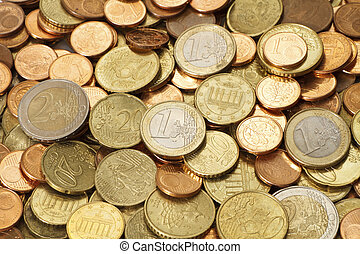 A pile of used, circulated, modern, Euro coins. All of the current Euro coin denominations are represented in this image.