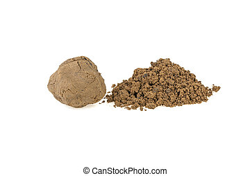 pile of clay on a white background