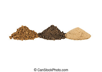 pile of clay, soil, earth, sand on white background