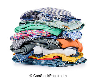 pile of clothing isolated on white