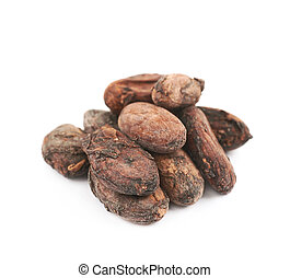 Pile of cocoa beans isolated