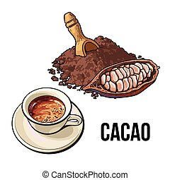 Pile of cocoa powder, cacao fruit and hot chocolate cup