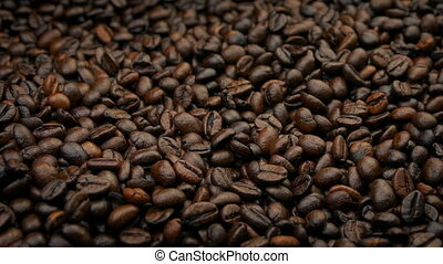 Pile Of Coffee Beans Barista Concept - Tracking shot moving...