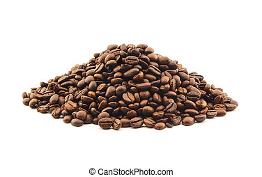 pile of coffee beans isolated on white background