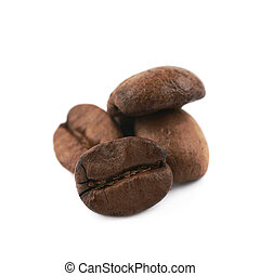 Pile of coffee beans isolated