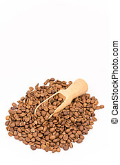 Pile of coffee beans over white background
