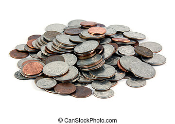 A pile of US Coins shot on a white background