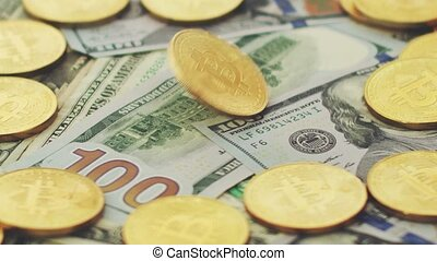 Pile of coins and bills - Close-up of shiny golden coins...