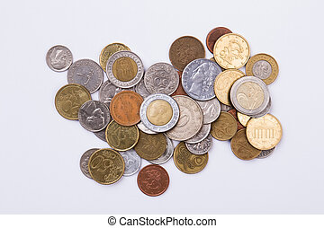 Pile of coins collection.