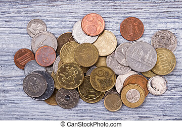 Pile of coins collection, top view.