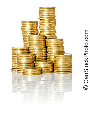 Pile of Coins on a white background