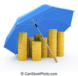 Pile of coins under an umbrella