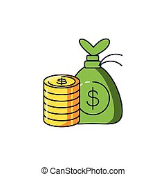 pile of coins with money bag