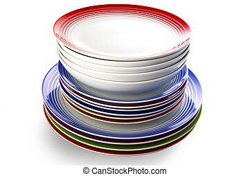 Pile of colored plate on white