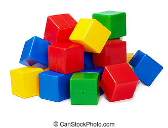 Pile of colored toy blocks on white