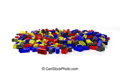 Pile of colorful blocks, isolated on white background.