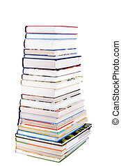 Pile of colorful Books isolated on white background