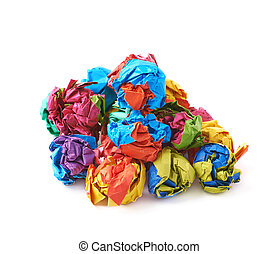 Pile of colorful crumbled paper balls, composition isolated...