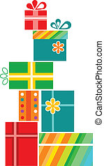 Pile of colorful gift boxes with presents over white