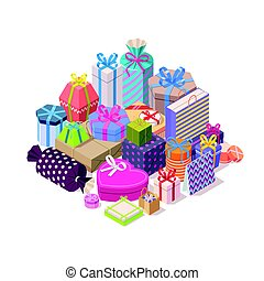 Pile of colorful gift boxes.