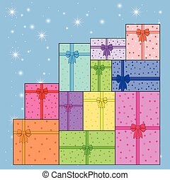 pile of colorful gifts vector EPS