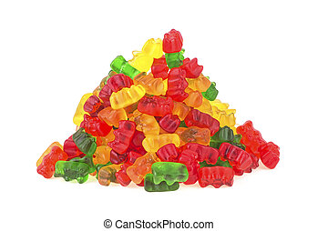 Pile of colorful gummy bears on a white background