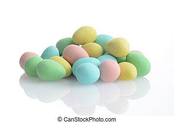 pile of colorful mini easter eggs