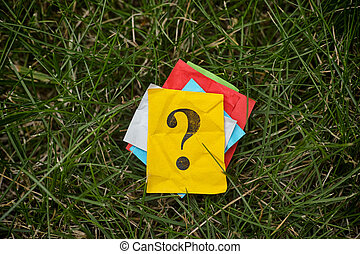 Pile of colorful paper notes with question marks on green grass