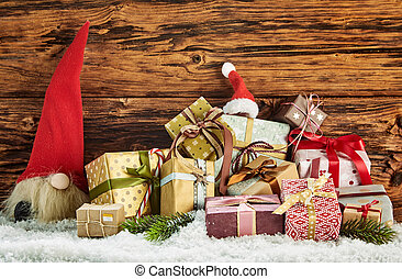 Pile of colorful wrapped Christmas gifts