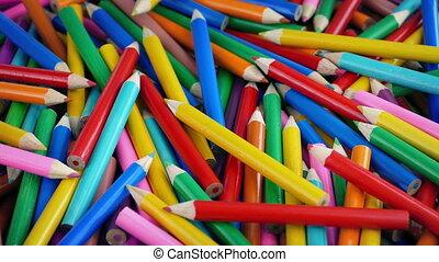 Pile Of Coloring Pencils - Closeup shot of pile of coloring...