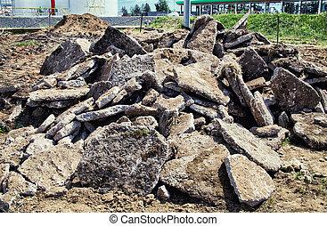 Pile of concrete debris