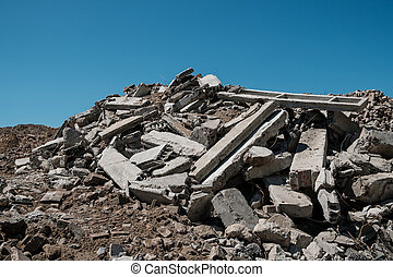 pile of concrete rubble from demolished building ruil to ...