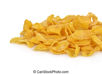 Pile of corn flakes, isolated on white background