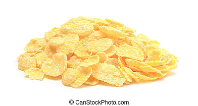 Pile of corn flakes isolated on white