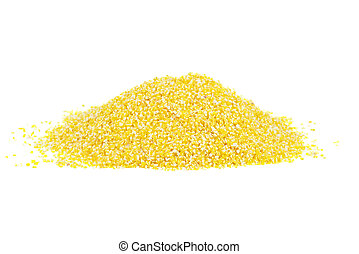 Pile of corn grits isolated on white background
