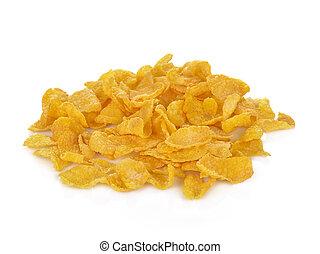 Pile of cornflakes, isolated on white background