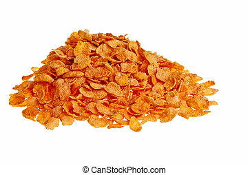 Pile of cornflakes isolated over a white background.